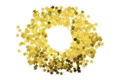 Struttura rotonda con le stelle d'oro della stagnola Confine sparso delle stelle Fotografia Stock Libera da Diritti