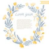 Struttura rotonda d'annata della foglia e dei fiori dell'acquerello Fotografia Stock Libera da Diritti