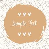 Struttura rotonda dei punti con un grande punto beige con spazio per il vostro testo Pagina fatta dei punti o dei punti beige Fotografia Stock