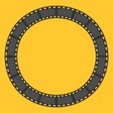 Struttura rotonda del cerchio della striscia di pellicola mascherina Elemento di disegno Fondo giallo Progettazione piana Fotografia Stock Libera da Diritti
