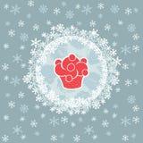 Struttura rotonda del nuovo anno e di Natale con il simbolo del bigné Cartolina d'auguri Immagini Stock Libere da Diritti