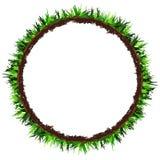Struttura rotonda dell'erba verde Insegna del cerchio con lo spazio della copia Vettore del disegno della mano illustrazione di stock