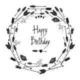 Struttura rotonda di buon compleanno delle frecce e delle foglie Fotografia Stock Libera da Diritti