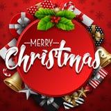 Struttura rotonda di Natale con la bacca dell'agrifoglio ed il contenitore di regalo su fondo rosso royalty illustrazione gratis