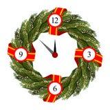 Struttura rotonda di Natale dei rami dell'albero di Natale Fotografia Stock