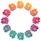 Struttura rotonda di pendenza con le siluette astratte dei fiori Immagine Stock Libera da Diritti