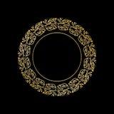 Struttura rotonda di vettore dell'oro con l'ornamento floreale royalty illustrazione gratis