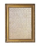 Struttura rotonda dorata annata con un ornamento isolato su bianco fotografia stock
