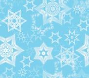 Struttura senza cuciture con gli ornamenti di frattale del fiocco di neve nello scintillio blu-chiaro e bianco Immagine Stock