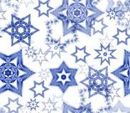 Struttura senza cuciture con gli ornamenti di frattale del fiocco di neve nello scintillio blu scuro e bianco Fotografia Stock Libera da Diritti