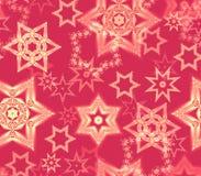 Struttura senza cuciture con gli ornamenti di frattale del fiocco di neve nello scintillio rosso e pallido dell'oro Fotografie Stock
