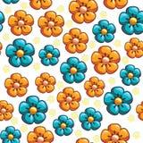 Struttura senza cuciture con i fiori blu e gialli Fotografie Stock