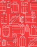 Struttura senza cuciture con i regali festivi lineari di varie forme Immagine Stock