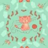 Struttura senza cuciture con il gattino scarabocchiato del fumetto e grigio alla moda Immagine Stock