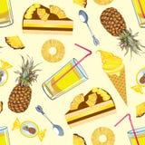 Struttura senza cuciture con l'ananas Fotografie Stock
