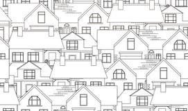 Struttura senza cuciture con le case di campagna di contorno Immagine Stock