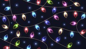 Struttura senza cuciture con le ghirlande colorate festive delle luci Fotografia Stock Libera da Diritti
