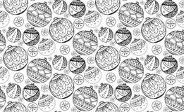 Struttura senza cuciture con le palle in bianco e nero di Natale Fotografia Stock Libera da Diritti