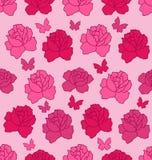 Struttura senza cuciture con le rose e le farfalle dei fiori, rosa Fotografia Stock Libera da Diritti