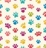 Struttura senza cuciture con le tracce di gatti, cani Impronte dell'animale domestico delle zampe Immagine Stock