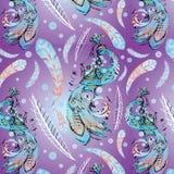 Struttura senza cuciture decorativa con il firebird blu royalty illustrazione gratis