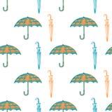 Struttura senza cuciture degli ombrelli disegnati a mano Immagini Stock