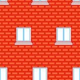 Struttura senza cuciture del muro di mattoni e di Windows Priorità bassa dei mattoni rossi Fotografie Stock Libere da Diritti