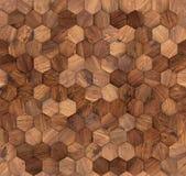 Struttura senza cuciture della parete di legno di esagoni Fotografia Stock