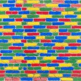 Struttura senza cuciture della parete di mattoni dei colori luminosi differenti Fotografia Stock