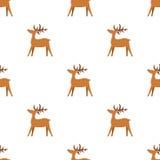Struttura senza cuciture di Natale con la renna ed i fiocchi di neve Immagini Stock