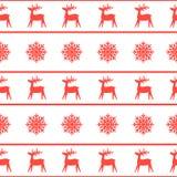 Struttura senza cuciture di Natale con la renna ed i fiocchi di neve Fotografie Stock Libere da Diritti