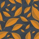 Struttura senza cuciture di vettore con le foglie dorate su un fondo grigio scuro royalty illustrazione gratis