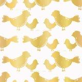 Struttura senza cuciture di vettore del modello dell'oro dell'uccello bianco di lusso della madre illustrazione vettoriale
