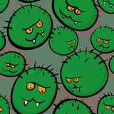 Struttura senza cuciture di vettore - immagini stilizzate dei microbi e del viruse Fotografia Stock