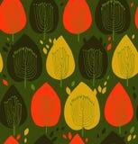 Struttura senza cuciture floreale variopinta del tessuto di contrasto del modello con il fondo sveglio degli alberi decorativi con Fotografia Stock