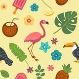 Struttura senza fine di estate con gli uccelli esotici e le piante tropicali royalty illustrazione gratis