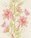 Struttura senza giunte con i fiori e la farfalla Fotografie Stock