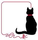 Struttura sottile con il gatto nero Fotografia Stock Libera da Diritti