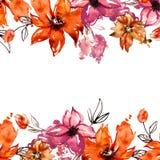 Struttura sveglia del fiore dell'acquerello Priorità bassa floreale dipinta a mano invito Partecipazione di nozze Scheda di compl Fotografia Stock Libera da Diritti
