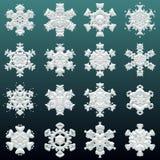 Struttura tagliente di molti fiocchi di neve con differenti forme Immagini Stock Libere da Diritti