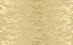 Struttura techna del panno dorato futuristico astratto senza cuciture di vettore Linea fondo del damasco royalty illustrazione gratis
