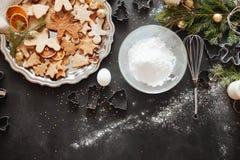 Struttura tradizionale di natale con le spezie, biscotti di speculoos Fotografia Stock