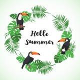 Struttura tropicale con le foglie e l'uccello esotici del tucano illustrazione vettoriale
