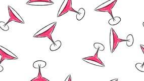 Struttura, un modello senza cuciture dei vetri di vetro del bello acquerello disegnato a mano per i cocktail di martini con una g royalty illustrazione gratis