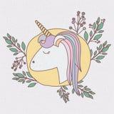 Struttura variopinta con caricatura della testa femminile dell'unicorno con i rami decorativi Immagine Stock
