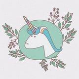 Struttura variopinta con caricatura della testa maschio dell'unicorno con i rami decorativi Fotografie Stock