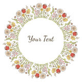Struttura variopinta decorativa disegnata a mano di immagine o del testo con i fiori Fotografia Stock