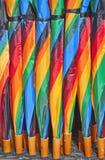 Struttura variopinta degli ombrelli Fotografie Stock