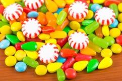 Struttura variopinta del caramello della caramella dei dolci Fotografie Stock