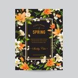 Struttura variopinta floreale d'annata - acquerello Lily Flowers illustrazione di stock